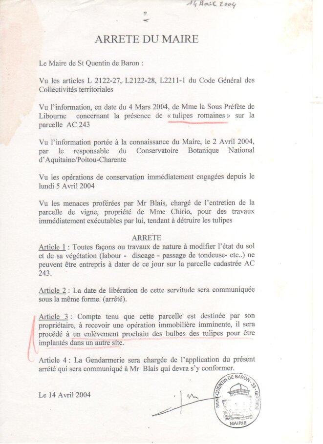 Arrêté municipal du 14 avril 2004 © Mairie de Saint-Quentin-de-Baron