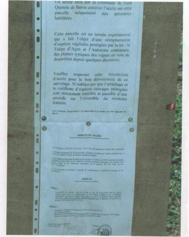 Arrêté municipal relatif à l'accès à la parcelle d'accueil © Mairie de Saint-Quentin-de-Baron