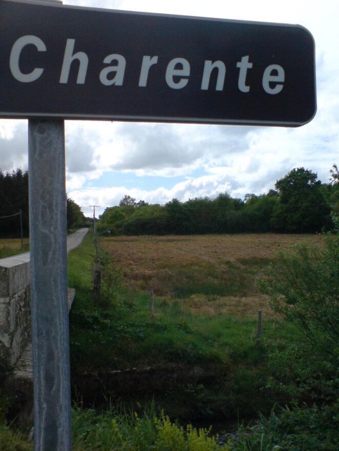 La Charente près de ses sources... et d'un champ passé au glyphosate © Photo JC Mathias