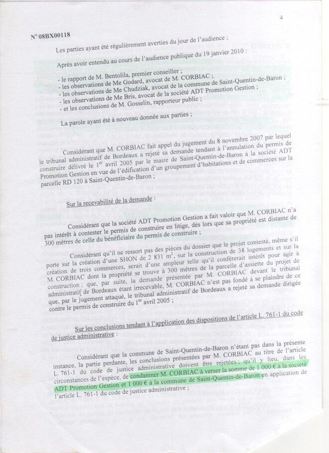 Jugement de la Cour Administrative d'Appel de Bordeaux (16 février 2010) © Cour Administrative d'Appel de Bordeaux