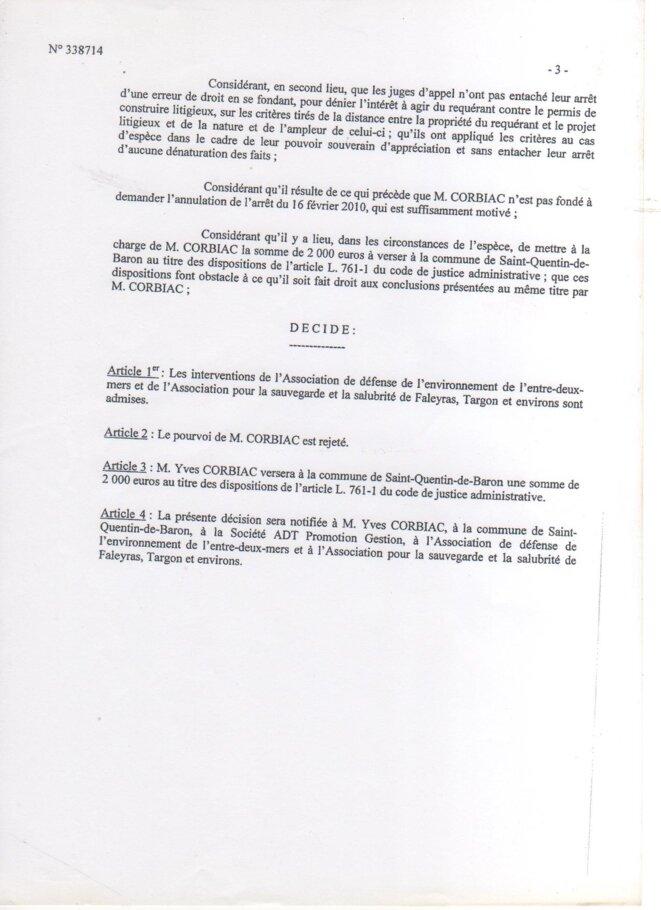 Jugement de la Section du Contentieux du Conseil d'Etat (14 juin 2012) © Conseil d'Etat