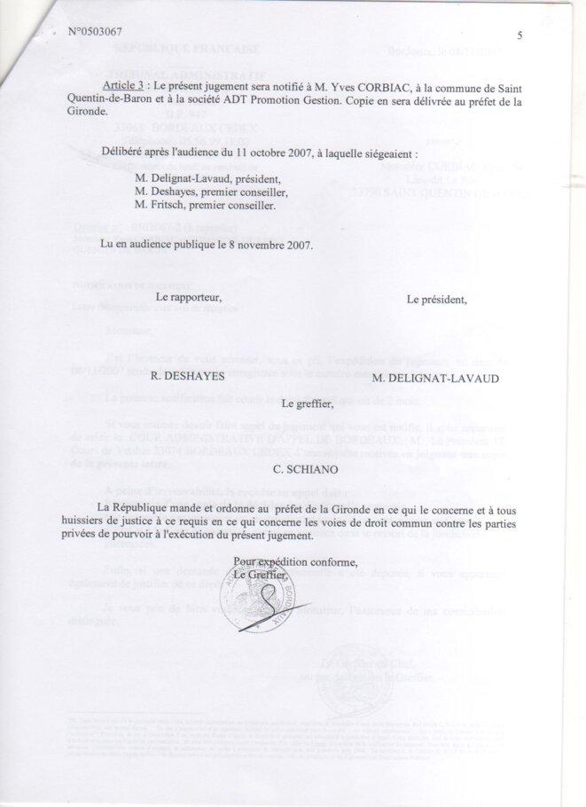 Jugement du Tribunal Administratif de Bordeaux (8 novembre 2007) © Tribunal Administratif de Bordeaux
