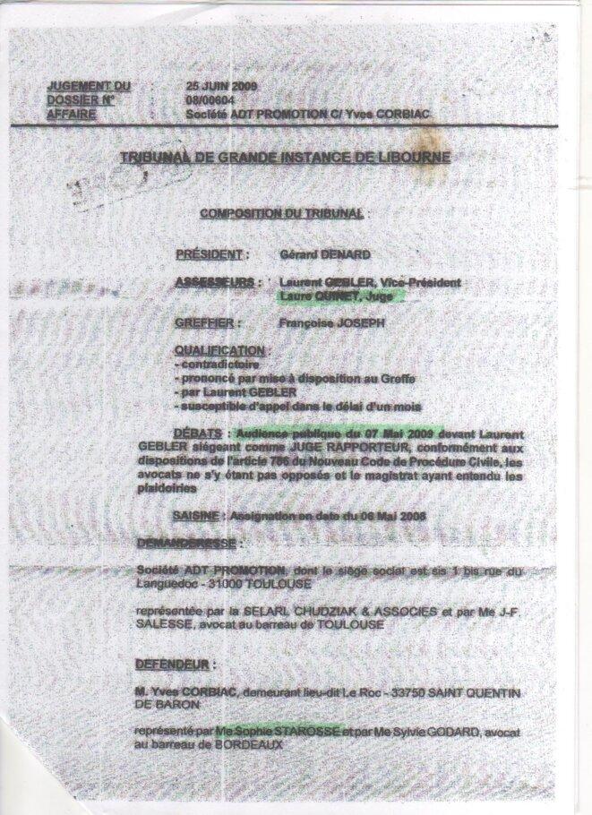 Jugement du Tribunal de Grande Instance de Libourne (25 juin 2009) © TGI de Libourne