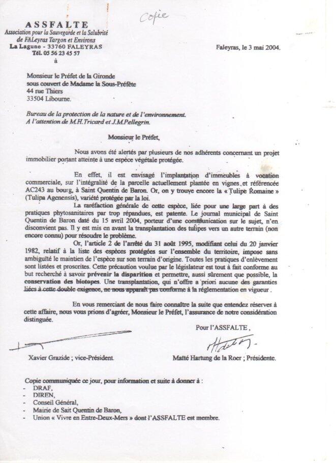Lettre de l'ASSFALTE à la Sous-Préfecture de Libourne (3 mai 2004) © ASSFALTE