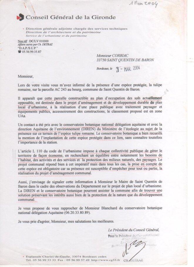 Lettre du Conseil Général de la Gironde à Yves Corbiac (1er mars 2004) © Yves CORBIAC