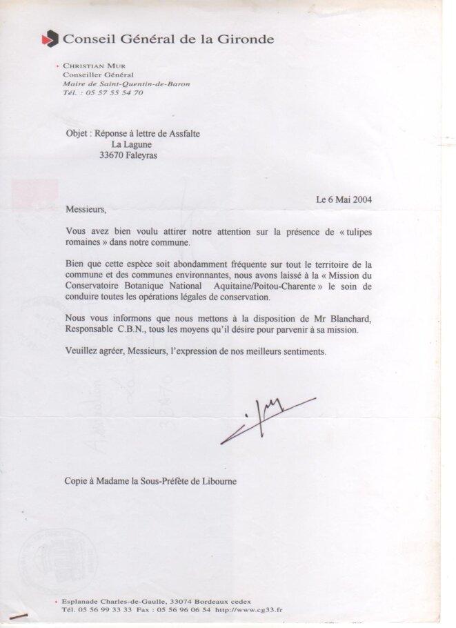 Lettre de Christian Mur, conseiller général de la Gironde, à l'ASSFALTE (6 mais 2004) © ASSFALTE