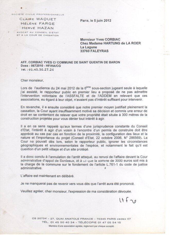 Lettre de Maître Farge, Avocat au Conseil d'Etat, à Yves Corbiac (5 juin 2012) © Yves CORBIAC