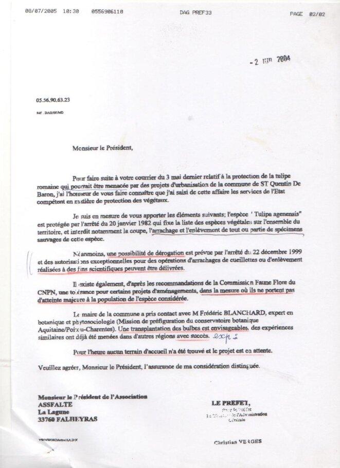 Lettre de la Préfecture à l'ASSFALTE (2 juin 2004) © ASSFALTE