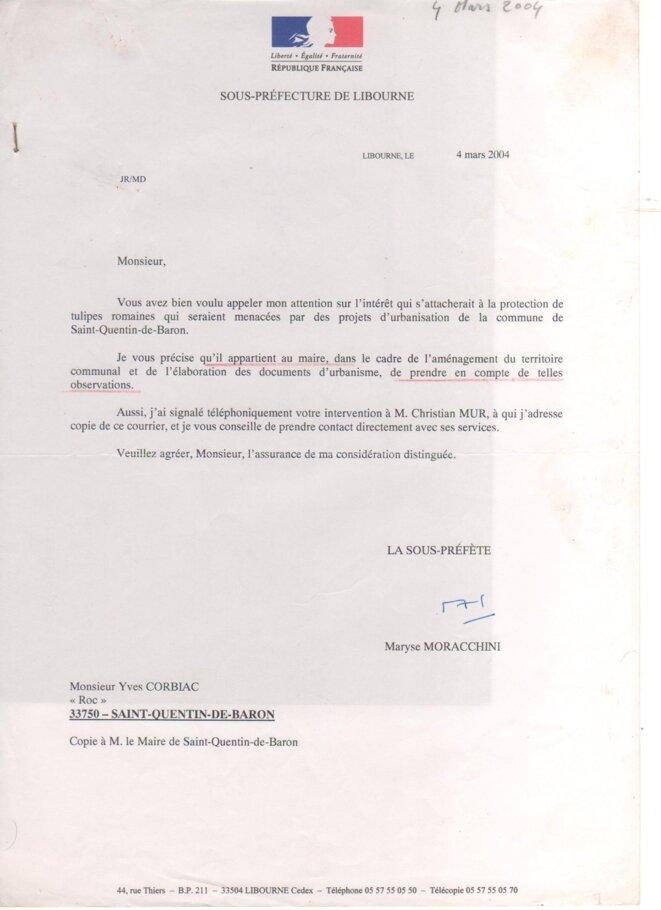 Lettre de la Sous-Préfecture de Libourne à Yves Corbiac (4 mars 2004) © Yves CORBIAC