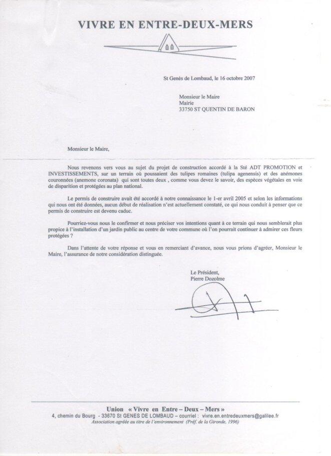 Lettre de l'union Vivre en Entre-deux-Mers au Maire de Saint-Quentin-de-Baron (16 octobre 2007) © Vivre en Entre-deux-Mers