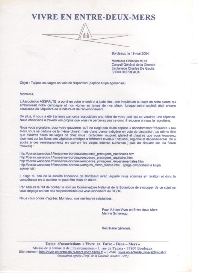 Lettre de l'union Vivre en Entre-deux-Mers à Christian Mur (19 mai 2004) © Vivre en Entre-deux-Mers