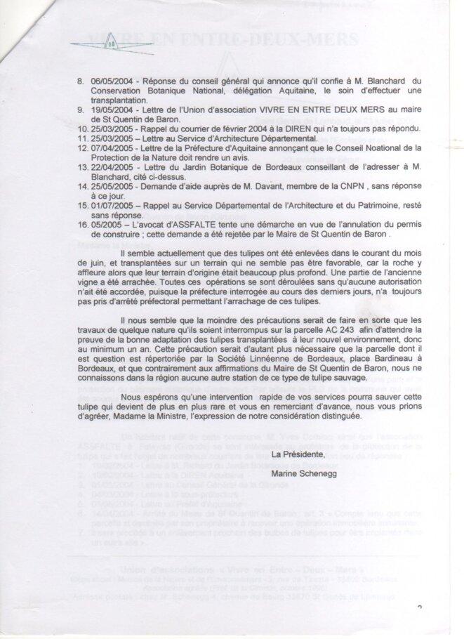 Lettre de l'union Vivre en Entre-deux-Mers au Ministère de l'écologie (23 juillet 2005) © Vivre en Entre-deux-Mers