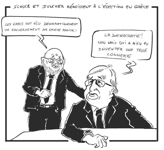 Juncker et Schulz sur les élections en Grèce © Vinch