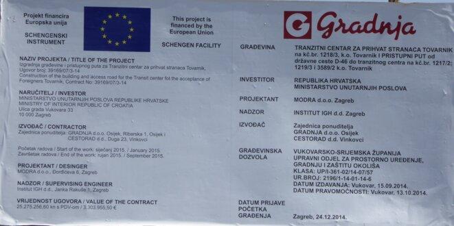«Le projet de camp fermé de Tovarnik financé par l'instrument Schengen, photo Morgane Dujmovic le 10/04/2015.»