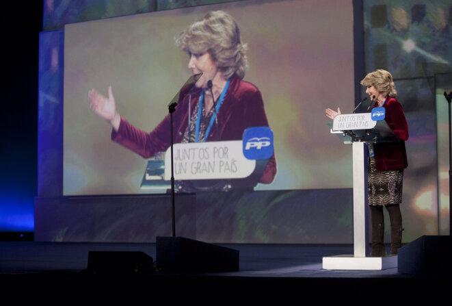Durante su intervención en la Inauguración de la Convención del PP. © Esperanza Aguirre/Flickr