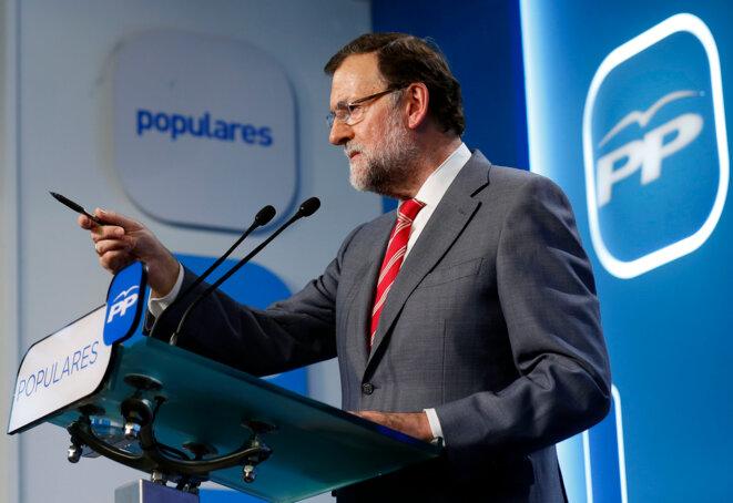 El presidente del Gobierno y del PP, Mariano Rajoy, comparece en rueda de prensa para valorar los resultados del 24M. © Flickr/PP