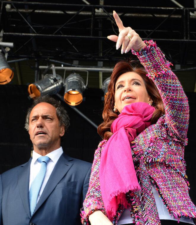 Cristina Kirchner junto a Daniel Scioli. © Casa Rosada