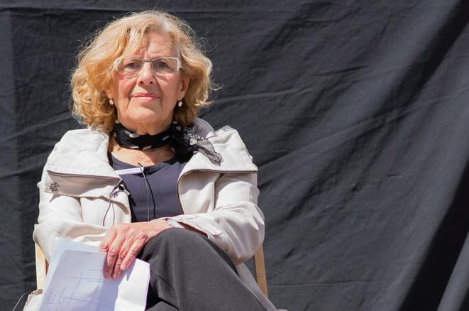 Manuela Carmena durante la campaña de Ahora Madrid, 19 de abril 2015. © Myriam Navas/Ahora Madrid