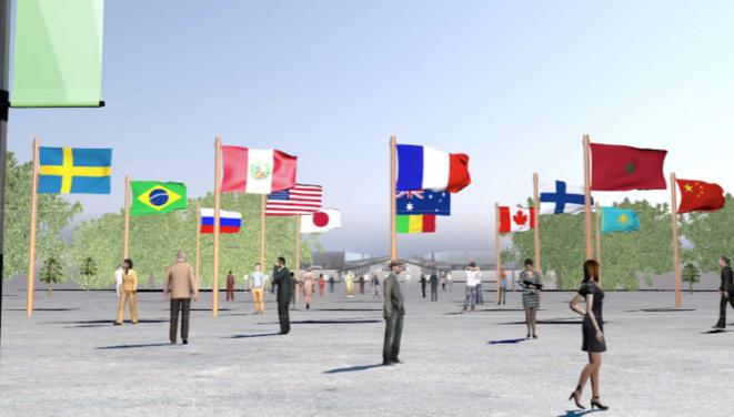 """La futura entrada de la COP 21 en Bourget, el """"bosque de banderas"""".   © DR"""
