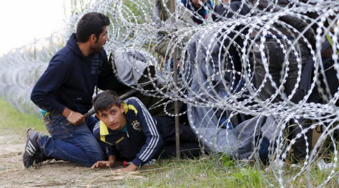 Refugiados sirios cruzan las barreras de Röszke en Hungría, el 26 de agosto de 2015. © Laszlo Balogh / Reuters