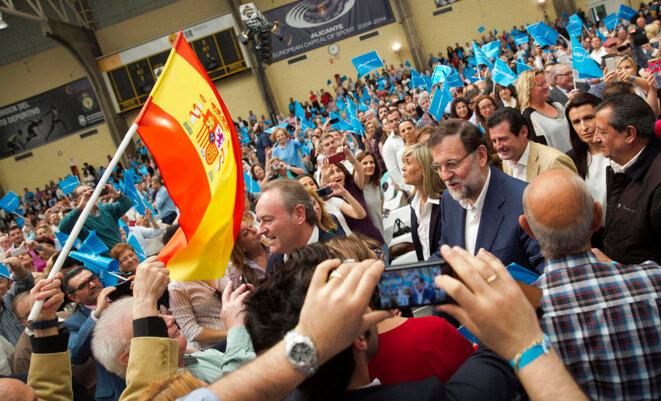 ariano Rajoy y Alberto Fabra, en la presentación de los candidatos de Alicante, el pasado 19 de abril. © PP
