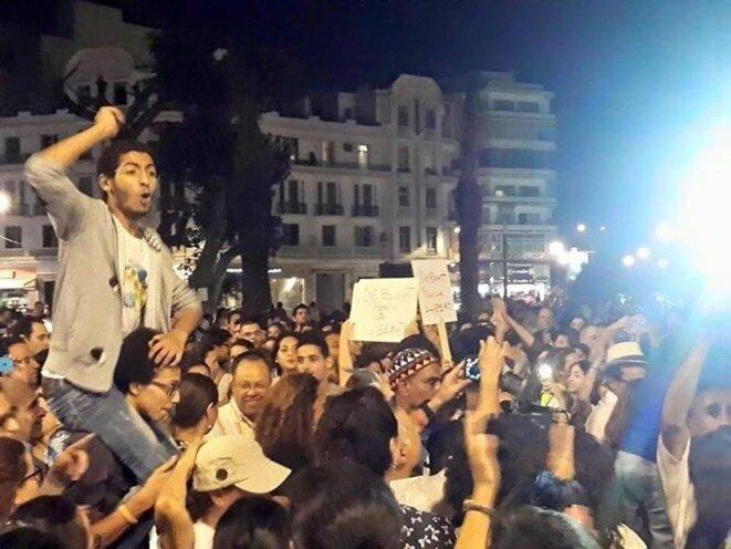 Ayoub Boudad durante una manifestación.