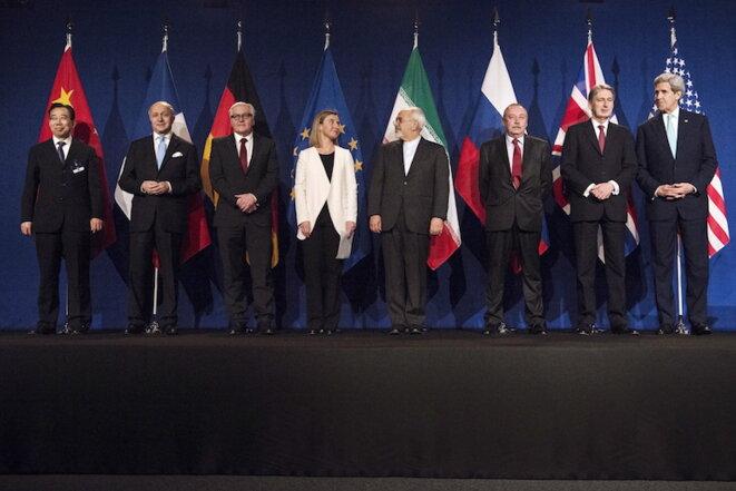 Los ocho responsables de las negociaciones del acuerdo de Lausanne. © Reuters