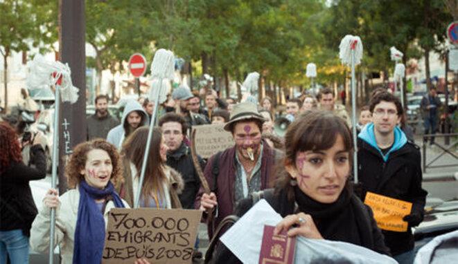Españoles emigrantes en París en una manifestación. © CELIA ALMUEDO|FLICKR