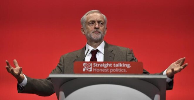 Jeremy Corbyn durante el congreso de Brighton.  © Reuters