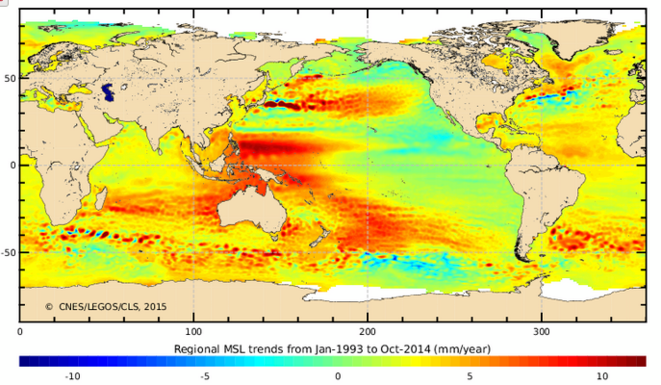 Selon la géographie terrestre les océans ne voient par leur niveau monter à la même vitesse © SHOM