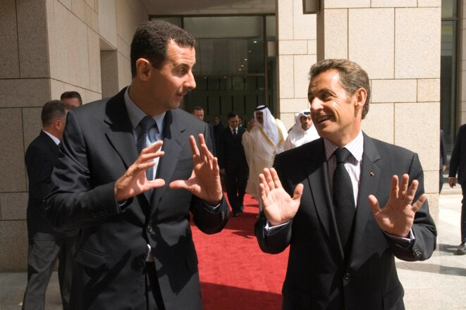 MM. Assad et Sarkozy en septembre 2008, à Damas.