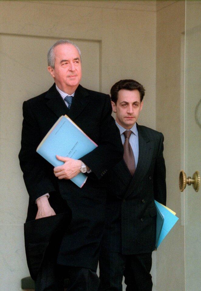 Edouard Balladur et Nicolas Sarkozy, en 1995.  © Reuters