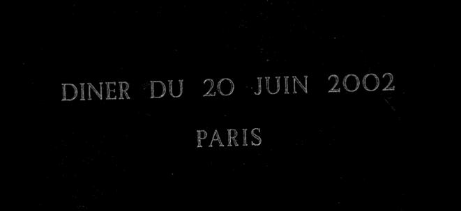 Carton d'invitation de la soirée du 20 juin 2002 © (dr.)