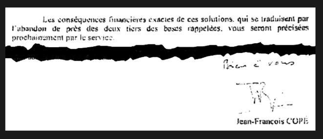 Extrait de la lettre de Jean-François Copé, ministre du budget.