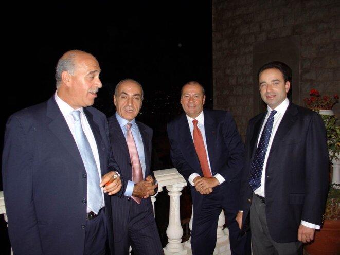 De gauche à droite: Farès Bouez, ancien ministre, Ziad Takieddine, l'ambassadeur Lecourtier et Jean-François Copé.