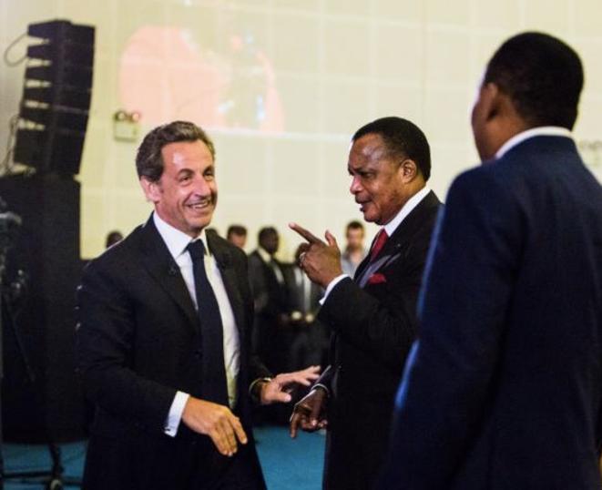 Nicolas Sarkozy et Denis Sassou Nguesso, au Forum Forbes.