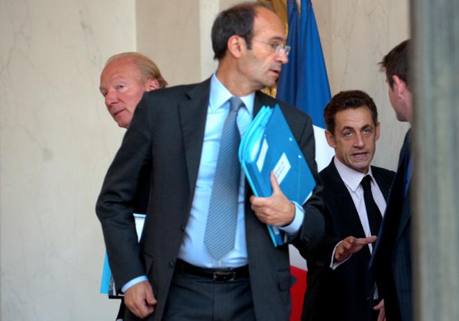 Éric Woerth et Nicolas Sarkozy, à l'Élysée.