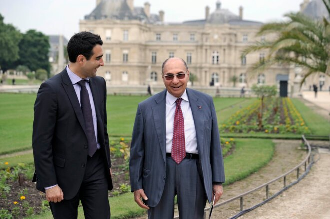 Serge Dassault, dans les jardins du Sénat. © Reuters