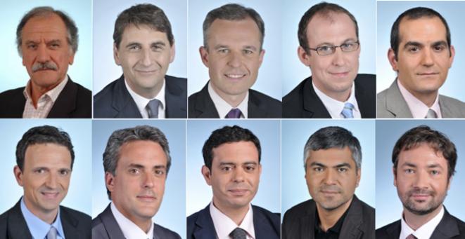De gauche à droite et de haut en bas: MM. Mamère, Goldberg, De Rugy, Bays, Amirshahi, Lambert, Denaja, Hammadi, Coronado, Leroy