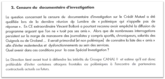 Extrait du compte-rendu de la réunion du 16 septembre entre la direction et les délégués du personnel.