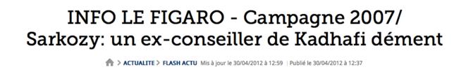 Capture d'écran du faux démenti de Missouri publié par Le Figaro