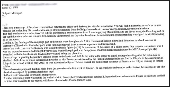 Le mail envoyé à Mediapart par Mohamed Ismail. Cliquez dessus pour l'agrandir. © dr