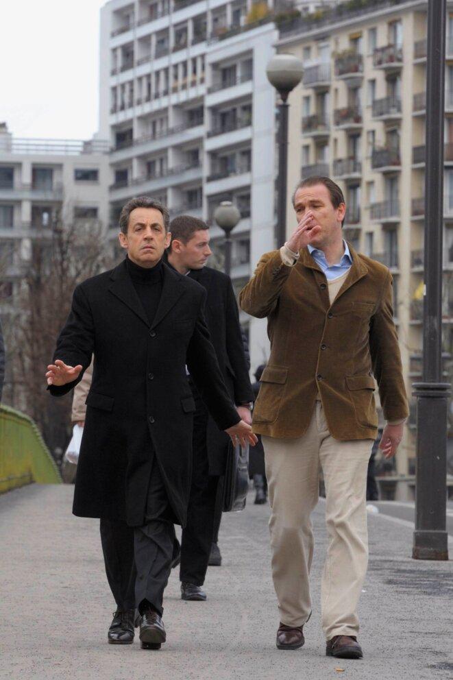 Nicolas Sarkozy et son directeur de campagne, le préfet Guillaume Lambert.