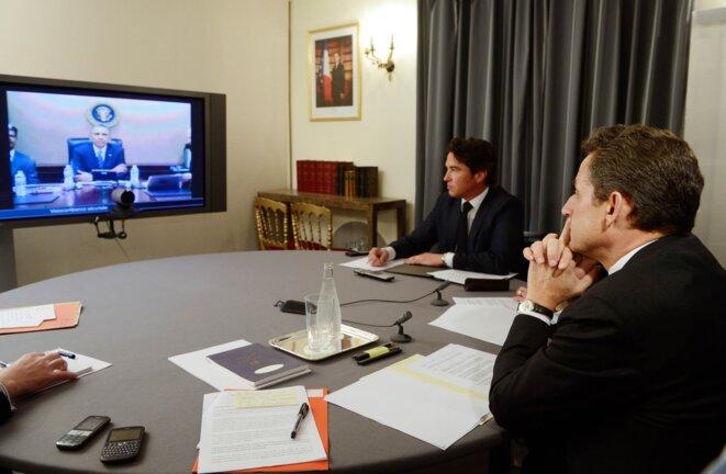 Nicolas Sarkozy et Damien Loras, à l'Elysée, en avril 2012.