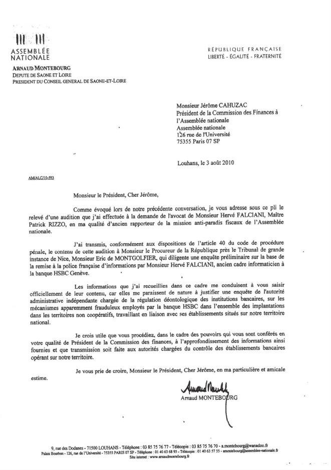 La lettre envoyée par Arnaud Montebourg envoyée à Jérôme Cahuzac, en août 2010, au sujet de l'affaire HSBC.