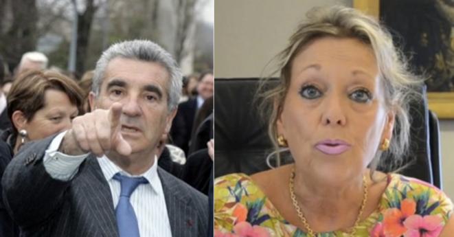 Gérard Trémège, maire de Tarbes, et Chantal Firmigier-Michel, procureure.  © DR