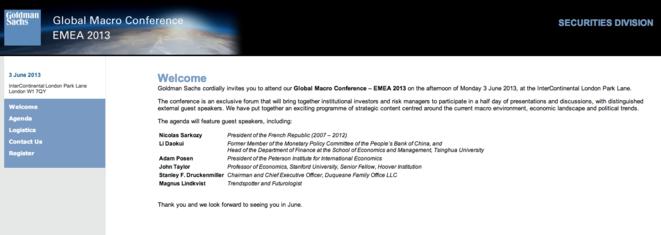 Invitation à la conférence de Nicolas Sarkozy pour Goldman Sachs (cliquez sur l'image pour l'agrandir)