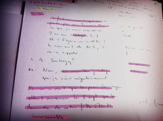Notes réalisées à partir des enregistrements clandestins du majordome.