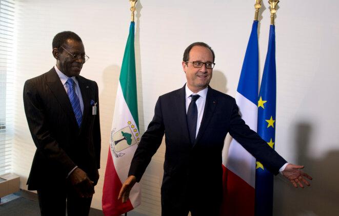 Teodoro Obiang, président de Guinée-équatoriale, et François Hollande, le 23 septembre 2014 à New York. © Reuters