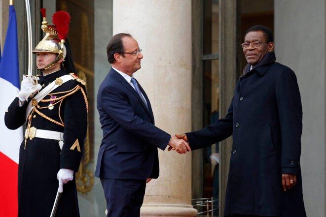 François Hollande, en décembre 2013, avec Teodoro Obiang (le père de Teodorin), président de Guinée.